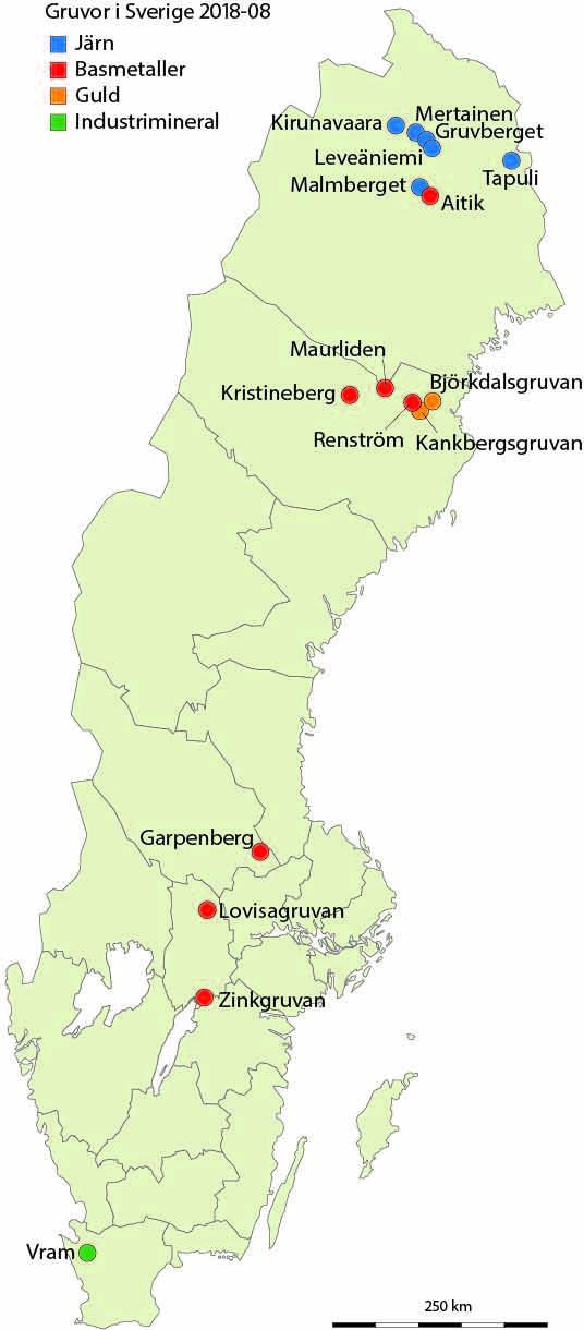 Karta Zinkgruvan.Mines In Sweden
