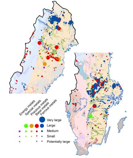 Metal deposits and future metal ore discoveries in Sweden (section from FODD)